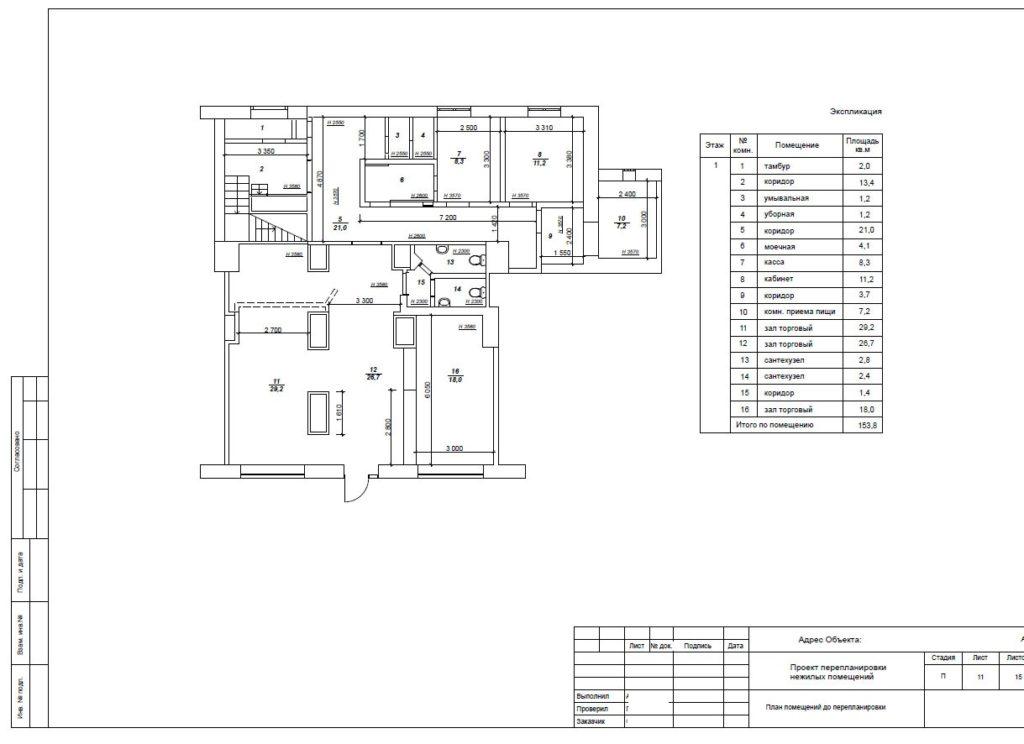 В проекте перепланировки указываются характеристик помещения до и после выполнения работ