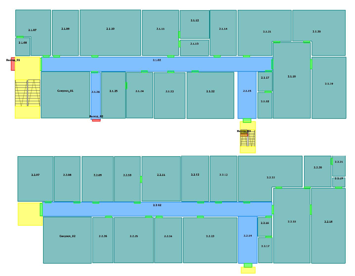 Для расчетов берутся показатели пожароопасности по всем помещениям, рассчитывается время эвакуации из них.