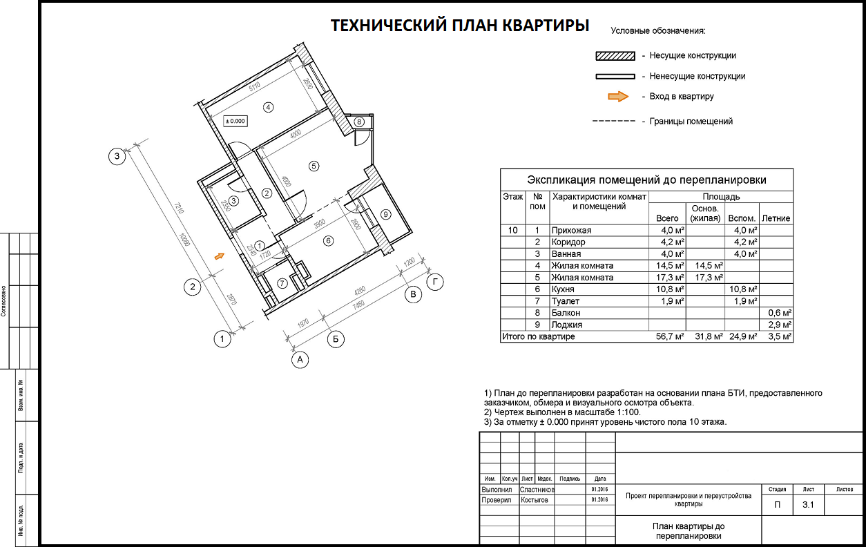 В техническом плане описывается реальная конфигурация помещения после перепланировки, его местоположение на этаже.